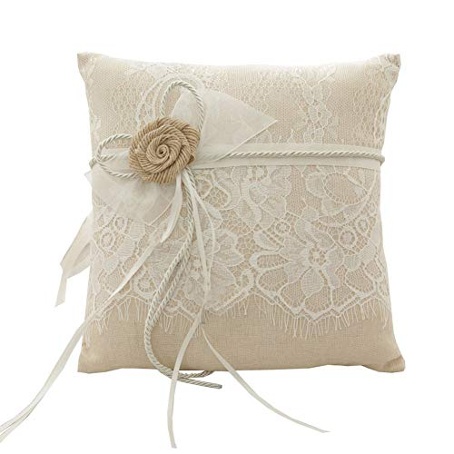 - Amajoy Vintage Rustic Burlap Lace Wedding Ring Pillow 7.5 inch x 7.5 inch