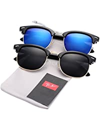 (Pack of 2) Semi Rimless Polarized Clubmaster Sunglasses...