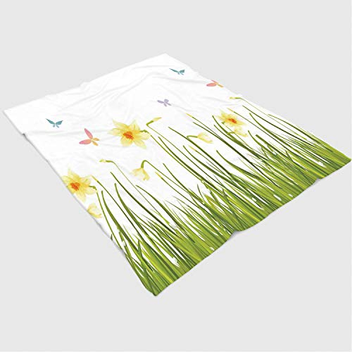 Super Soft Throw Blanket Custom Design Cozy Fleece Blanket/Perfect for Couch Sofa or Bed/39x49 inches/Daffodil Decor,Daffodil Field with Butterflies in Meadow Grass Springtime Park Easter Illustration