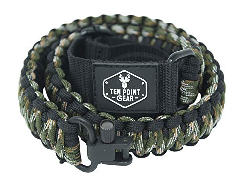 Best shotgun sling - Ten Point Gear Gun Sling Paracord 550 Adjustable w/Swivels (Multiple Color Options) (Black & Dark Green Camo)