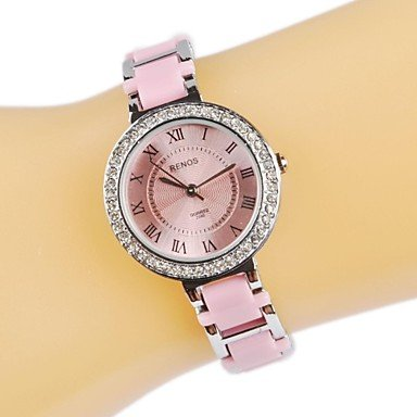 Rayshop - Women`s Stylish Roman Numerals Silver Plated Alloy Band Quartz Wrist Watch (Assorted Colors) ( Color : White )