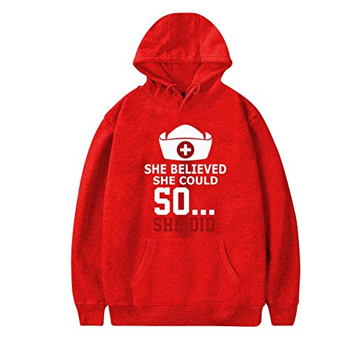 Aharyoa Mens Hoodies,Creative She Believed She Could So She Did Fashion Printed Plush Pocket Sweater,Soft and Warm XL Red ()