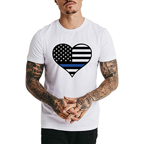 - Men's USA American Tee Respctful✿Men Patriotic Printed Short Sleeve Casual Cotton Tees Shirt for July 4