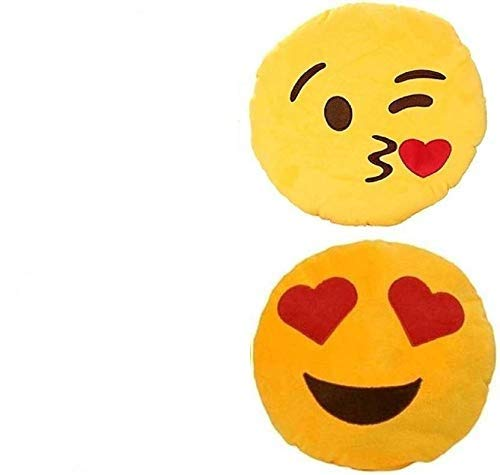 Jassi Toy Plush Heart Eyes and Flying Kiss Soft Smiley Cushion  35 cm, Yellow    Set of 2