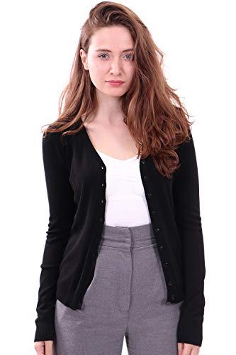 WuhouPro Womens V-Neck Button Down Long Sleeve Knit Cardigan Sweater AZ 1100 Black M