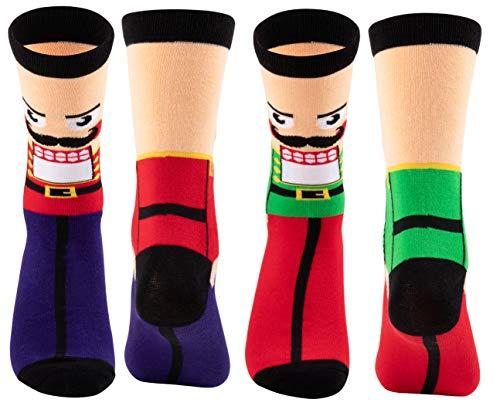 Christmas Socks - 2-Pair Holiday Nutcracker Crew Socks, For Unisex Adults