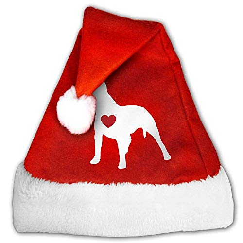 sheopge Red and White Santa Hat, Cute Pitbull Clipart Christmas Beanie for Childrens and Adults