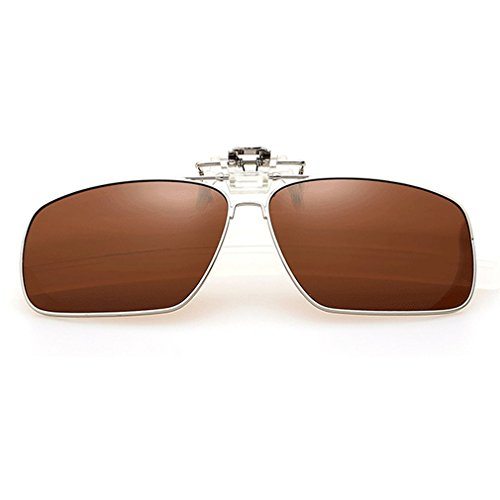 A-Royal Fashion Retro Square Myopia Polarized Clip-on Flip up Driving Fishing Sunglasses - Australia Fishing Sunglasses