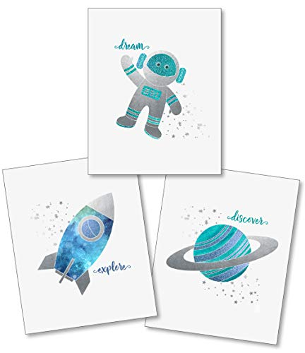 Confetti Fox Boys Nursery Wall Art Decor - Outer Space Planets Rockets Stars - 8x10 Unframed Set of 3 Prints - Baby Kids Bathroom Play Room - Dream Explore Discover