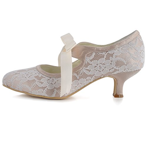 ElegantPark A3039-2 Women Pumps Closed Toe Mid Heels Mary Jane Prom Lace Ribbon Tie Wedding Party Shoes Champagne jKlHDn90