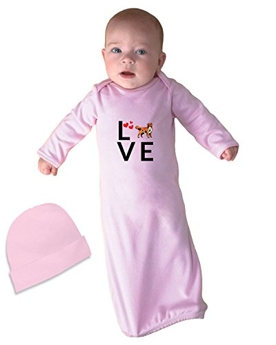 NOVA SCOTIA DUCK TOLLING RETRIEVER DOG Love Hearts Baby Layette Sleeping Gown Soft Pink - Sp Nova Fashion