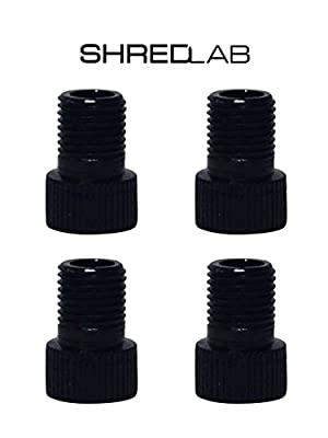 Set of 4 Black Bicycle Presta Valve Adapters for Road, Mountain, Track, & Fixie Models by Shred Lab