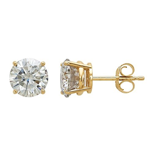 14K Gold Earrings 1.00ctw 5.0mm Round Moissanite 4-Prong Basket Post Earring (Gem Weight: 0.88) (yellow-gold) -
