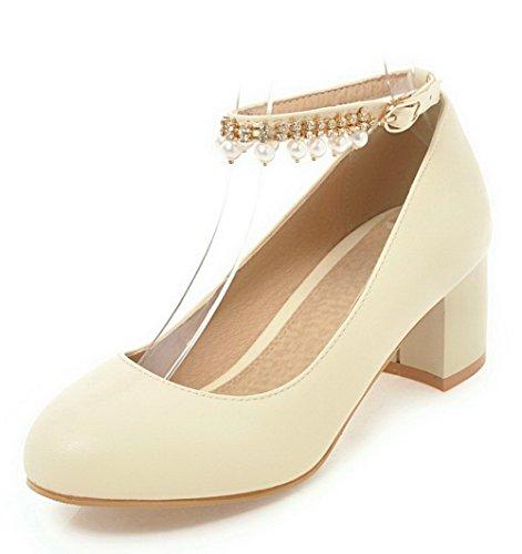 VogueZone009 Women's Soild Buckle Round-Toe Kitten-Heels Pumps-Shoes Beige