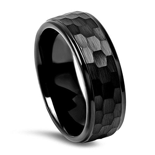Milo Bruno Modern Hammer Tungsten Wedding Ring (Black)