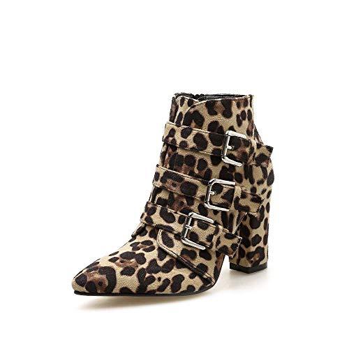 Stivaletti Da Leopard Stampa Con 39 Donna Leopardata Serpentine color A Fibbia Cintura Size Gsaydnee Punta a5qdZa
