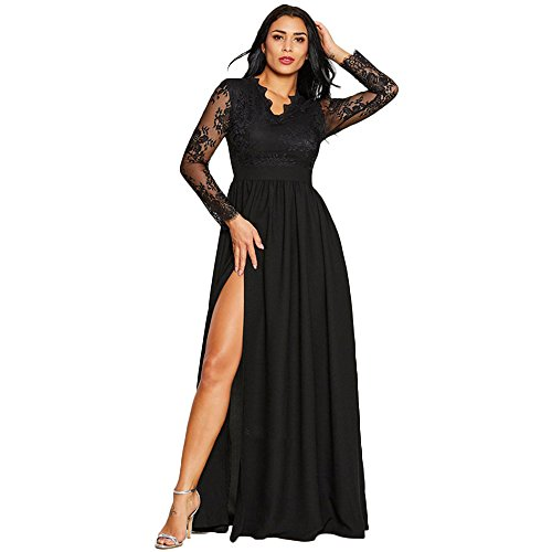 Wedding Bridesmaid Long Dress,Vanvler Women Deep V-Neck Lace Formal Party Dress | Maxi Gown Dress Elegant Ball Evening Prom (M :US 6, Black) from Vanvler -Women Dress