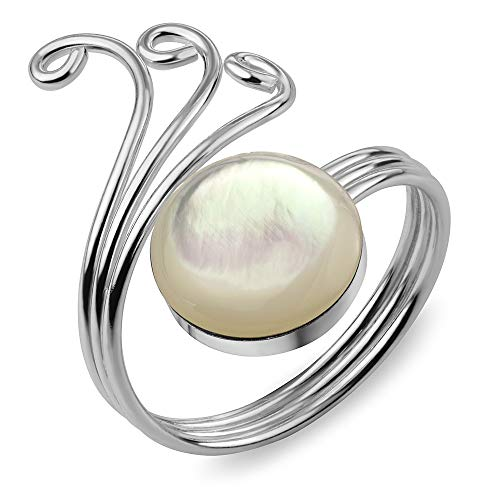 Around Wrap Pearl (Sterling Silver Natural White Mother of Pearl Shell Wrap around Stacking Band Ring Adjustable Size)