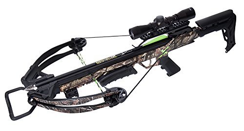 Carbon Express Blade X-Force Crossbow Ready-to-Hunt Kit (Rope Cocker/3 Bolt Quiver/3 Crossbolts/Rail Lubricant/3 Practice Points/4x32x 40mm), Camo, One Size