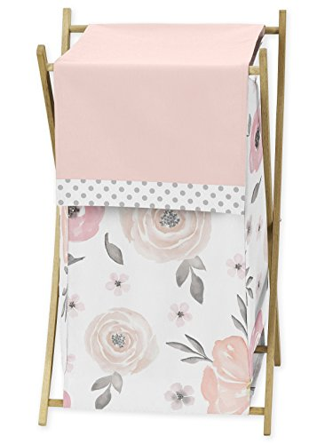 Sweet Jojo Designs Blush Pink, Grey and White Baby Kid Clothes Laundry Hamper for Watercolor Floral Collection - Clothes Pink Hamper