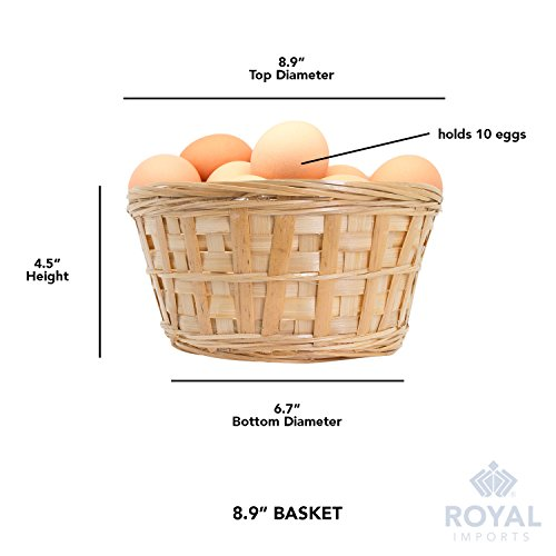 Royal Imports 8'' Round Natural Bamboo Handwoven Bread Basket 4''x8'' with Braided Rim, Pack of 6 by Royal Imports (Image #5)