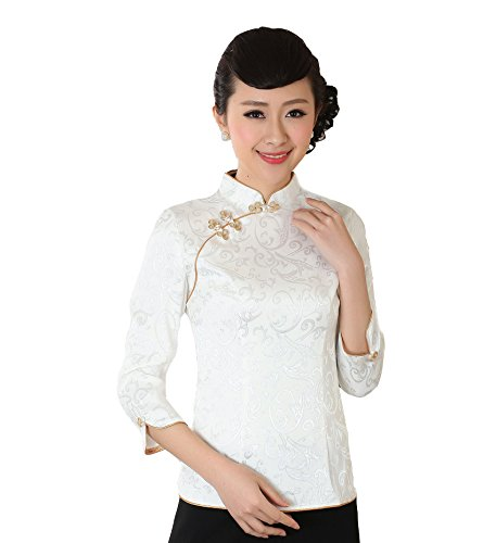 Jtc Women Chinese Cheongsam Style Three Quarter Sleeve Slopping Tops White