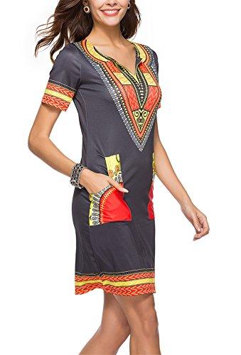 Tunique Cravate Col 1 Chemise Vintage Tenxin Ethnique Svelte C V Style Casual Robe D'été De Imprimé Bohême 7b6yYfvg