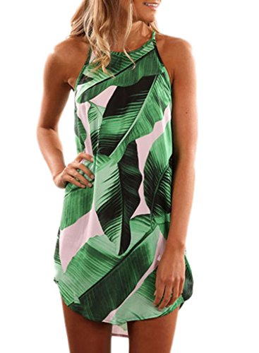 Green Floral Print (Sidefeel Women Floral Print Halter Sleeveless Mini Short Dress Medium Green)