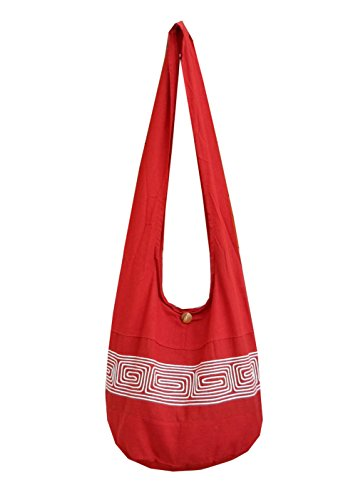 Gypsy Sling Bag Embroidered Hippie ND1 Cotton Hobo Bohemian Red Shoulder BTP Large Thai Purse Crossbody AwUpqU4x