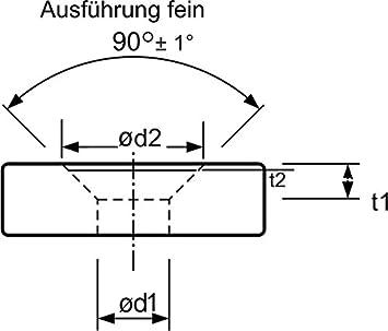 DIN 335 C mit 3 Schneiden mit Zylinderschaft 74BF M2,5fein HSS-E Co5 Kegel /Ø 5,8 mm und Entgratsenker 90/°