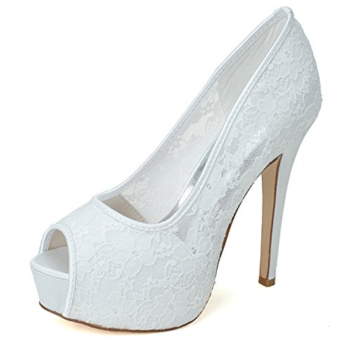 Clearbridal Women's Lace Wedding Bridal Shoes Open Peep Toe High Heels for Evening Prom Party ZXF3128-25 White