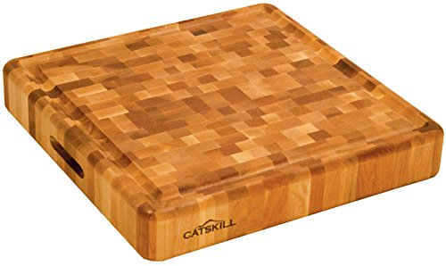 Catskill 1319 End Grain Slab with Groove Kitchen, Brown (Round Slab Cutting Board)