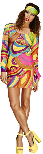 Smiffy's Women's Fever 70's Flower Power Costume, Dress and Head Scarf, Retro, Fever, Size 14-16,