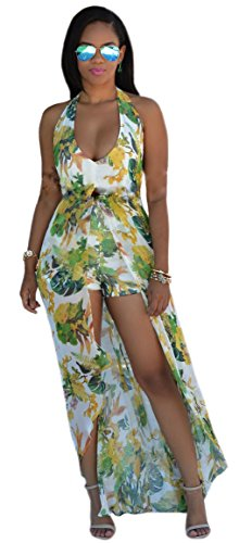 Kearia Womens Summer Sexy V Neck Halter Floral Maxi Skirt Overlay Romper Playsuit Green Small