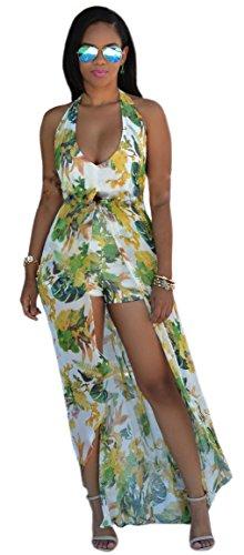Kearia Womens Summer Sexy V Neck Halter Floral Maxi Skirt Overlay Romper Playsuit Green Small