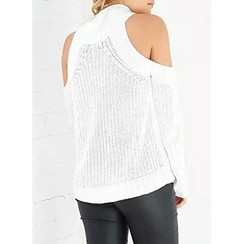Futurino Women's High Neck Cold Shoulder Cut Out Knit Pullover Sweater Top