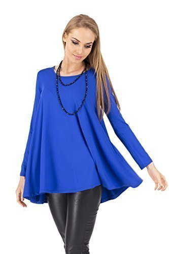 Mini Haut Robe Sensible Manches Decollet Tunique Bleu Longues Roi 8538 FUTURO FASHION Femmes BtxInSw6q