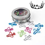 Rich Boxer Paper Clips Airplane Paper Clips Cute Airplane Shape Paper Clips Multicolor Card File Clips Metal File Note Clips Page Marker for Office School Supplies (24 Counts) (Multicolor)