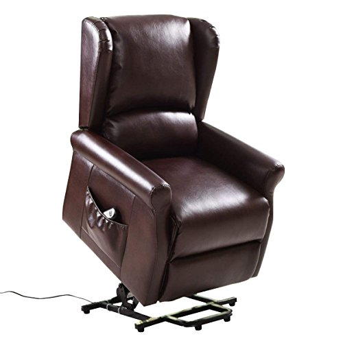 Giantex Electric Lift Chair Power Lift Reclining for Living Room Bedroom Elder People with Remote Control, Red Brown