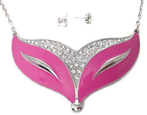 Gypsy Jewels Large Pink Fox Head Clear Rhinestone Necklace Earrings Set