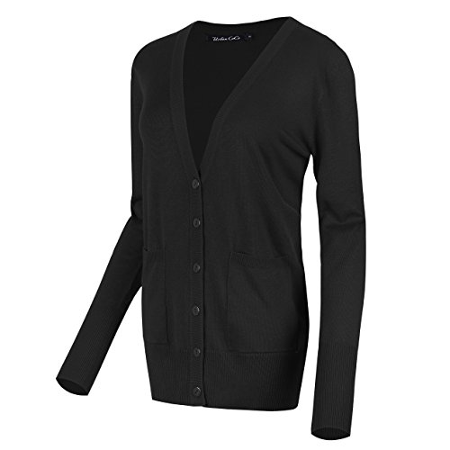 Urban CoCo Women's Long Sleeve Button Down Basic Cardigan Sweater (L, - Boyfriends Black