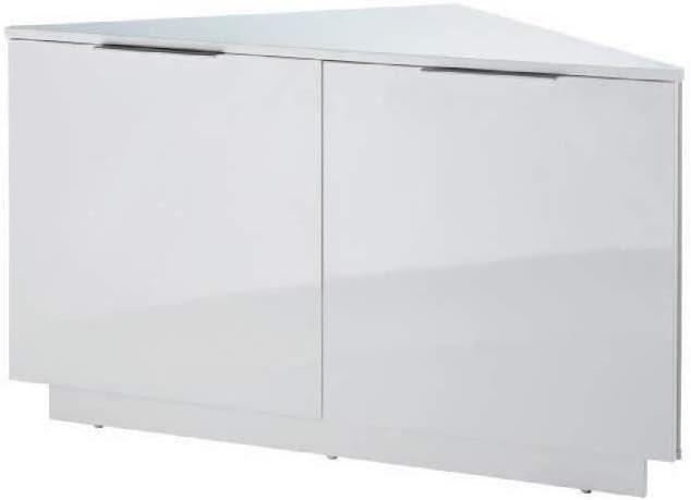 Swan Meuble Tv D Angle Contemporain Laque Blanc Brillant L 102 Cm