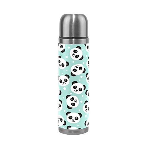 U LIFE Cute Pandas Customizable Personalized Insulated Vacuum Flask Cup Thermos Bottle for Hot Water Stainless Steel 500ml 16.9 - Steel Panda