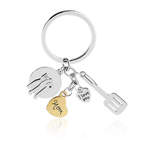 Mom Gift from Daughter Son, Love Heart Engraved Chef Kitchen Tool Key Ring Mum Mother Cute Mini Funny Jewelry Present for Birthday, Mother's Day, Christmas,Thanksgiving