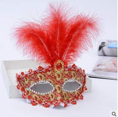 TWELVEMJ Mujer Mujer Pluma máscara de Encaje con Flecos ...