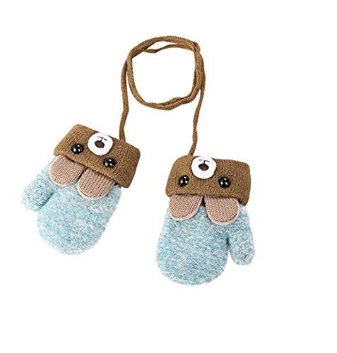 Unisex-Baby Cartoon Small Bear Knit Gloves Mittens