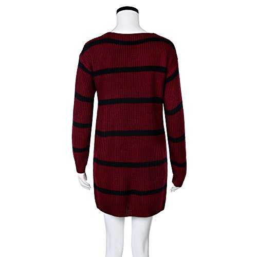 Stripe Sweater Womens Autumn Cardigan Sleeve Long Fashion Clothing Winter Coat Jacket Knitted Crochet Wine Tianya vg8w5qT