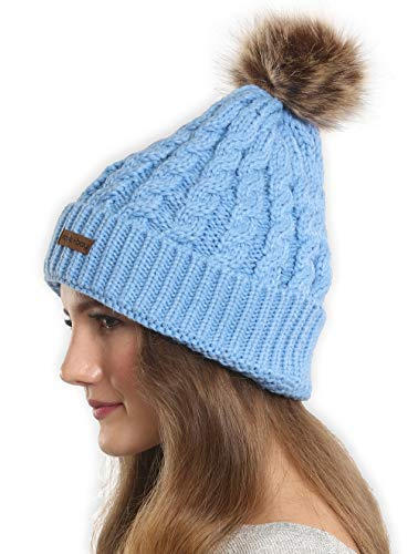 (Brook + Bay Faux Fur Pom Pom Beanie Stay Warm & Stylish This Winter - Thick, Soft & Chunky Cable Knit Beanie Hats for Women & Men - Serious Beanies for Serious Style)