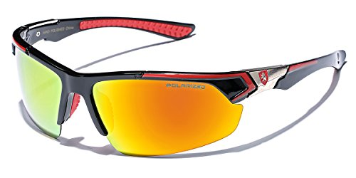 Polarized Premium Men's Half Frame Baseball Cycling Water Sports Sunglasses with Color Mirrored Lens