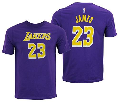 (Outerstuff Lebron James Los Angeles Lakers #23 Youth Player Name & Number T-Shirt Purple (Small 8))